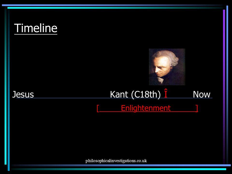philosophicalinvestigations.co.uk Timeline Jesus Kant (C18th) Î Now [ Enlightenment______]