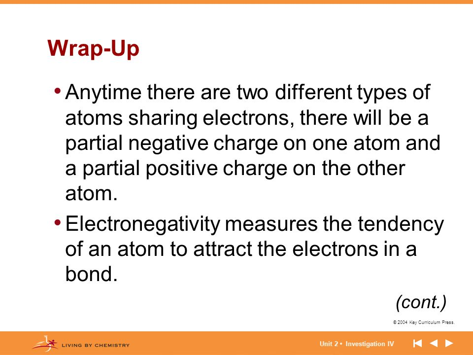 © 2004 Key Curriculum Press. Unit 2 Investigation IV Wrap-Up Anytime there are two different types of atoms sharing electrons, there will be a partial