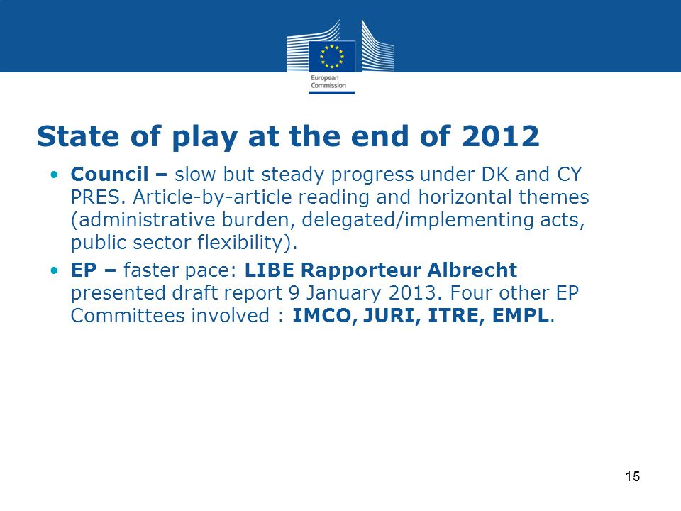State of play at the end of 2012 Council – slow but steady progress under DK and CY PRES. Article-by-article reading and horizontal themes (administra