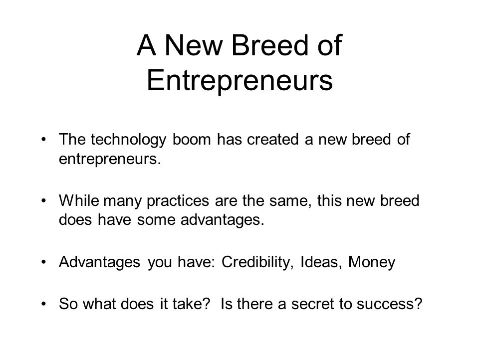A New Breed of Entrepreneurs The technology boom has created a new breed of entrepreneurs.