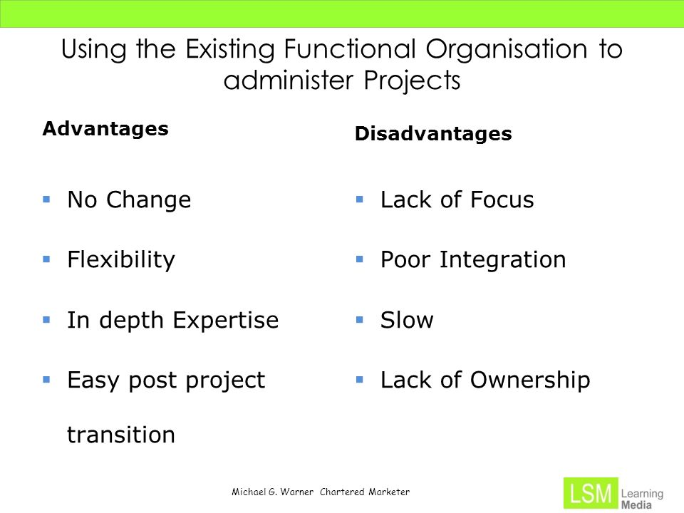 Michael G. Warner Chartered Marketer Using the Existing Functional Organisation to administer Projects Advantages  No Change  Flexibility  In depth