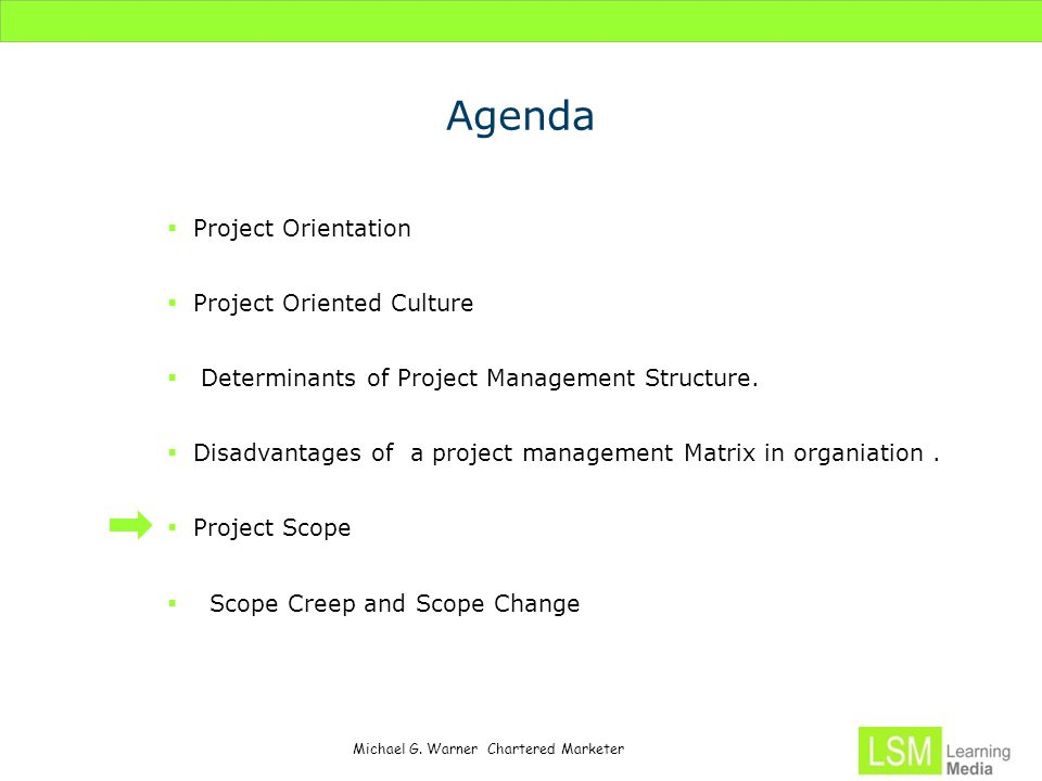 Michael G. Warner Chartered Marketer Agenda  Project Orientation  Project Oriented Culture  Determinants of Project Management Structure.  Disadva