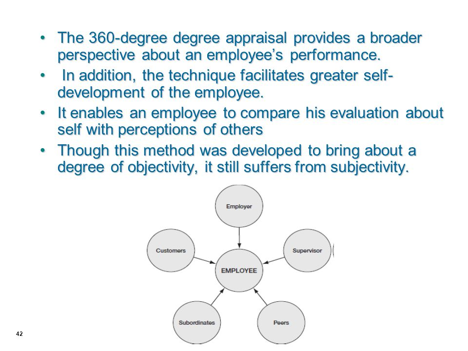 42 The 360-degree degree appraisal provides a broader perspective about an employee's performance.The 360-degree degree appraisal provides a broader p