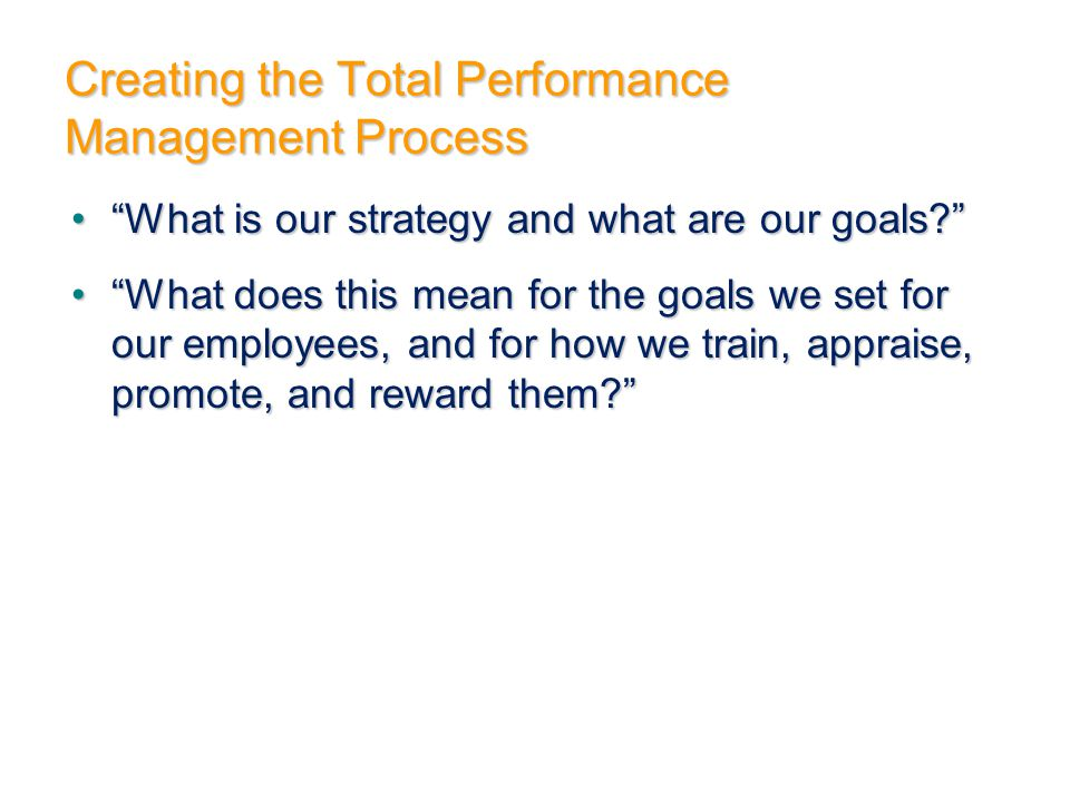 "Creating the Total Performance Management Process ""What is our strategy and what are our goals?""""What is our strategy and what are our goals?"" ""What d"