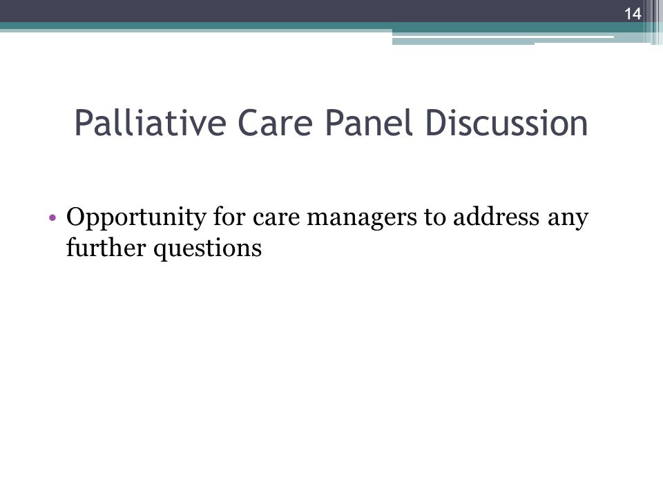 Palliative Care Panel Discussion Opportunity for care managers to address any further questions 14