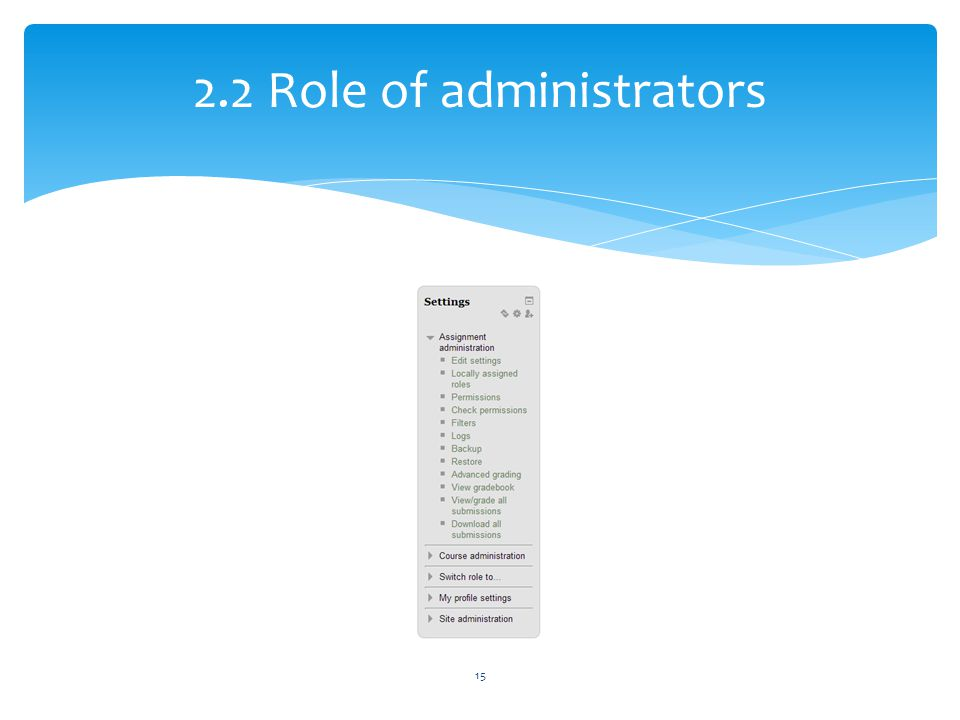 2.2 Role of administrators 15