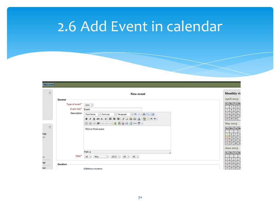 2.6 Add Event in calendar 34