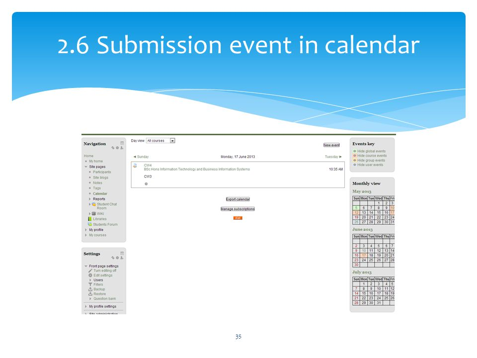 2.6 Submission event in calendar 35