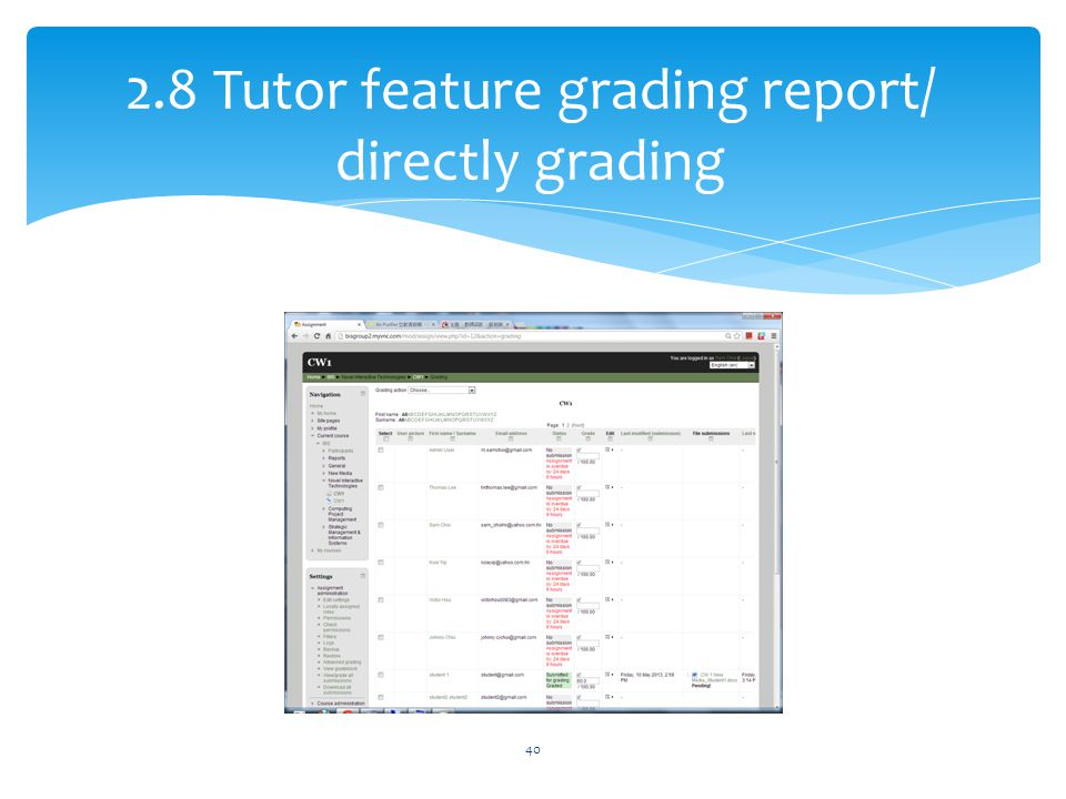 2.8 Tutor feature grading report/ directly grading 40