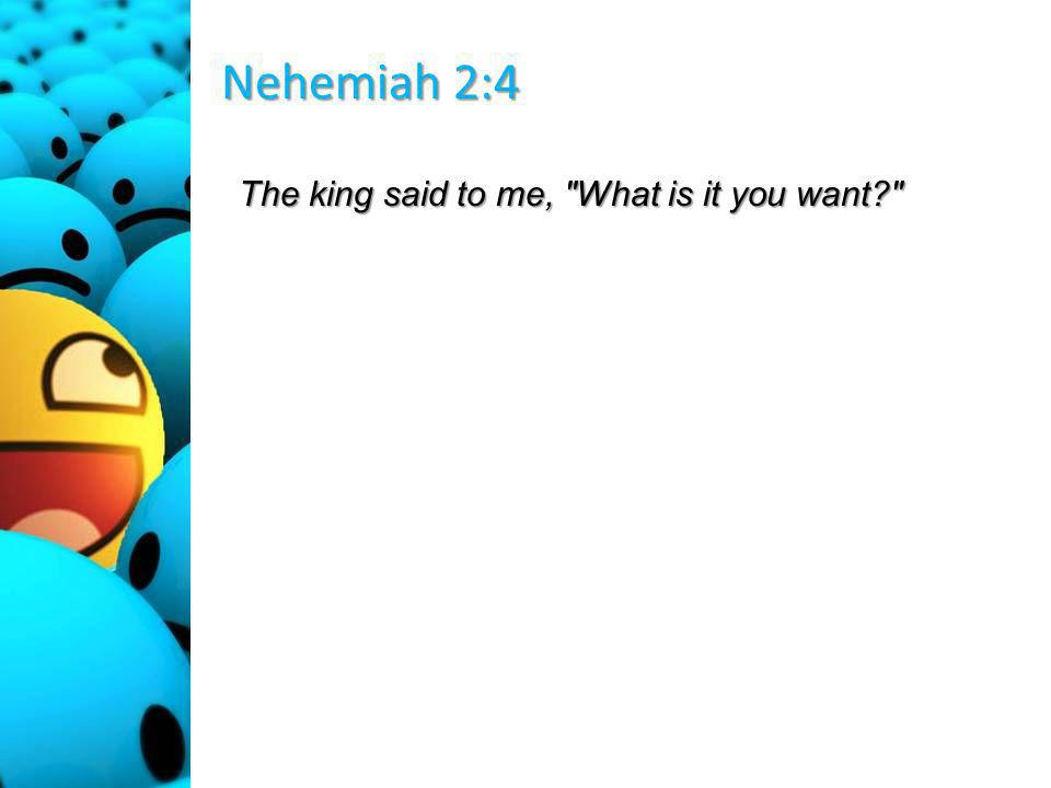 Nehemiah 2:4 The king said to me, What is it you want