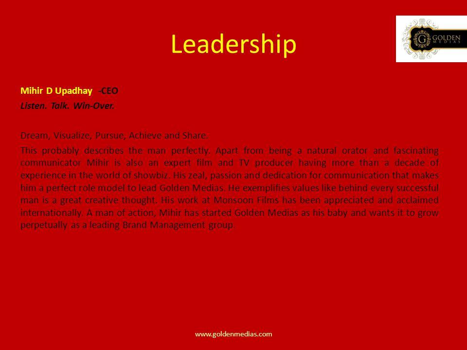 Leadership Mihir D Upadhay -CEO Listen. Talk. Win-Over.