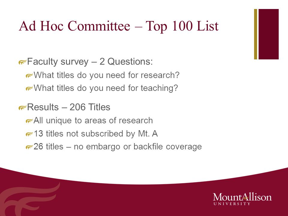 Ad Hoc Committee – Top 100 List Faculty survey – 2 Questions: What titles do you need for research? What titles do you need for teaching? Results – 20