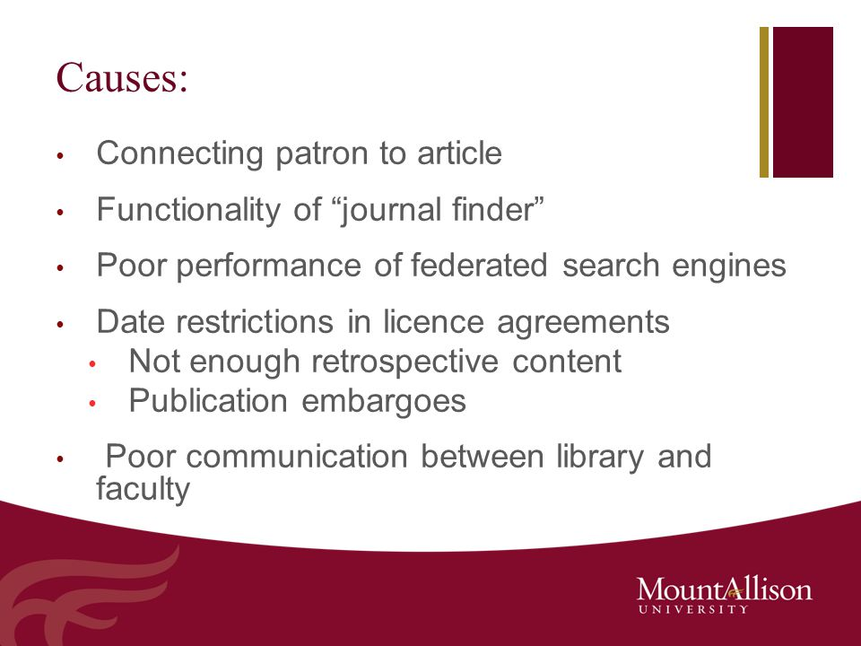 "Causes: Connecting patron to article Functionality of ""journal finder"" Poor performance of federated search engines Date restrictions in licence agree"