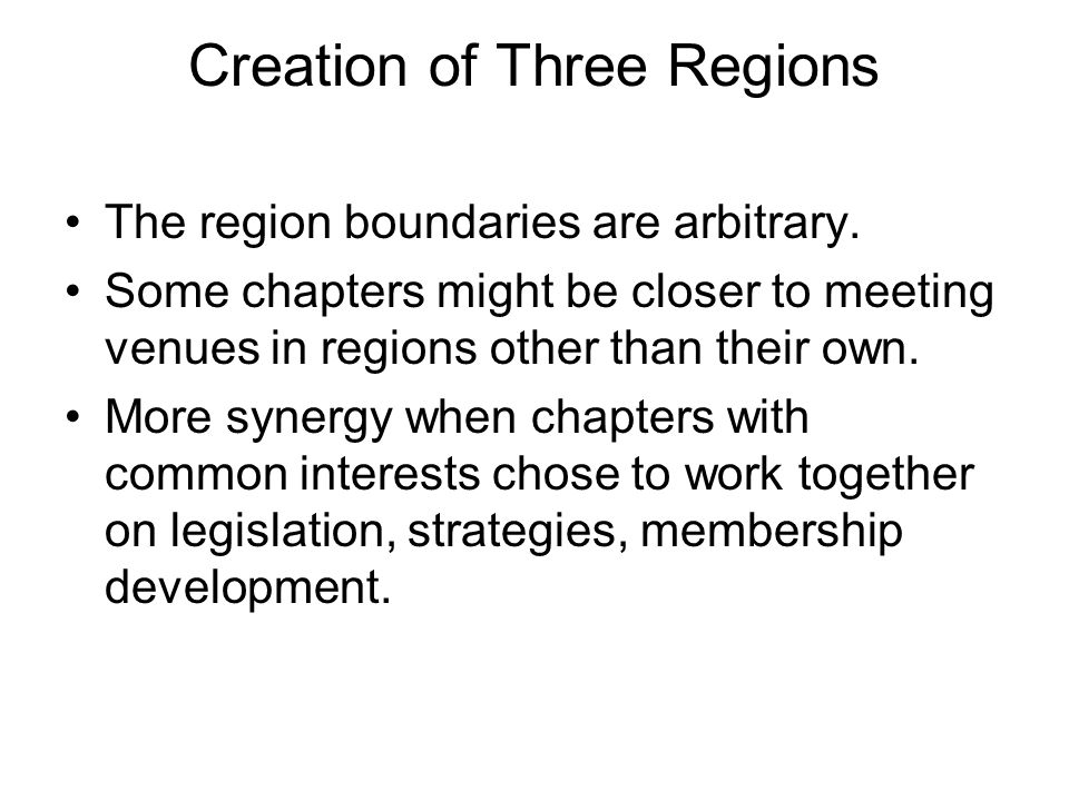 Creation of Three Regions The region boundaries are arbitrary.