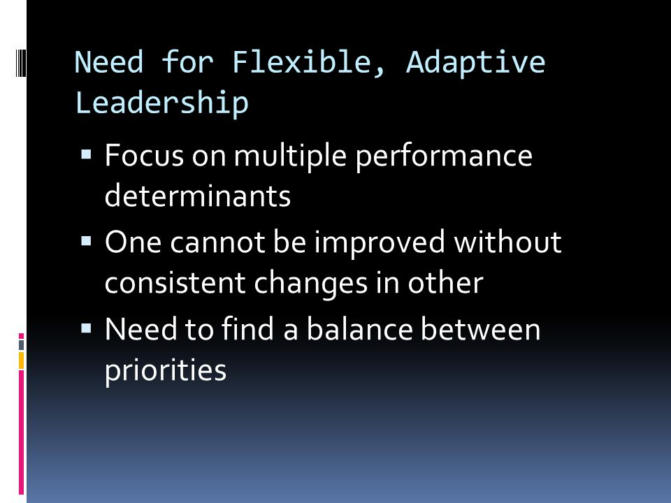Need for Flexible, Adaptive Leadership  Focus on multiple performance determinants  One cannot be improved without consistent changes in other  Need to find a balance between priorities