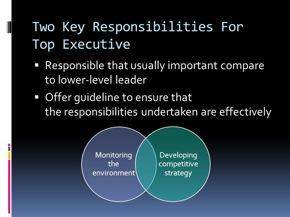 Two Key Responsibilities For Top Executive  Responsible that usually important compare to lower-level leader  Offer guideline to ensure that the responsibilities undertaken are effectively Monitoring the environment Developing competitive strategy