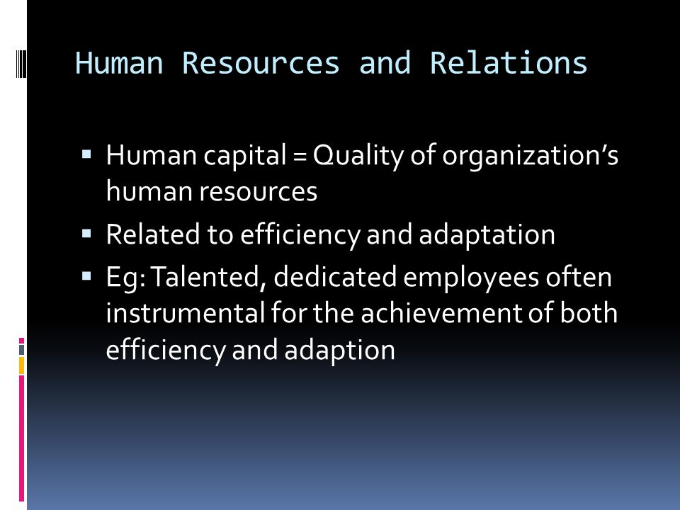 Human Resources and Relations  Human capital = Quality of organization's human resources  Related to efficiency and adaptation  Eg: Talented, dedicated employees often instrumental for the achievement of both efficiency and adaption