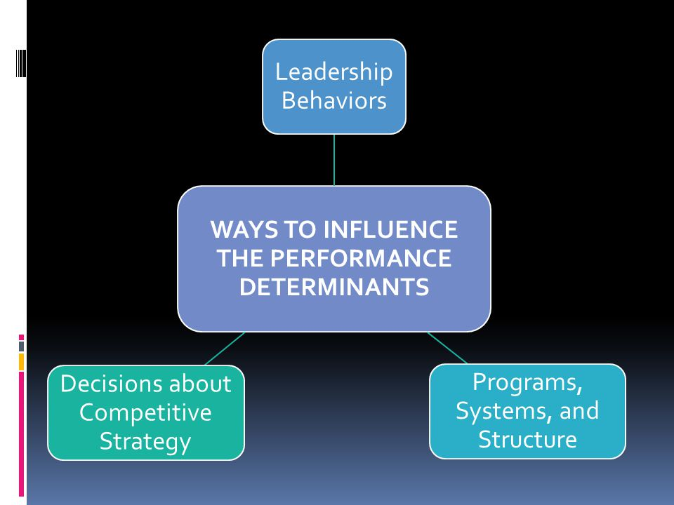 WAYS TO INFLUENCE THE PERFORMANCE DETERMINANTS Leadership Behaviors Programs, Systems, and Structure Decisions about Competitive Strategy