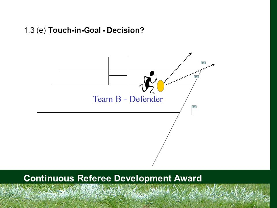Continuous Referee Development Award 1.3 (e) Touch-in-Goal - Decision Team B - Defender