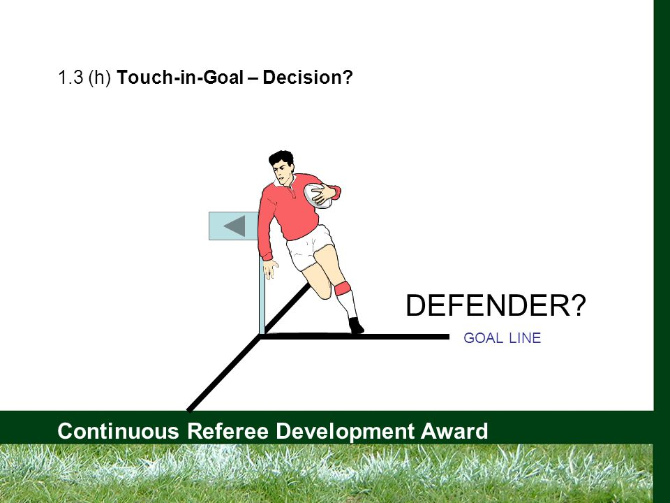 Continuous Referee Development Award 1.3 (h) Touch-in-Goal – Decision GOAL LINE DEFENDER