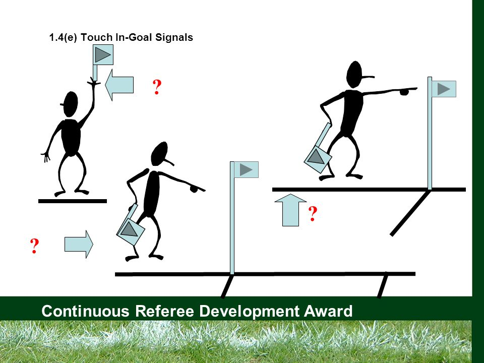 Continuous Referee Development Award 1.4(e) Touch In-Goal Signals