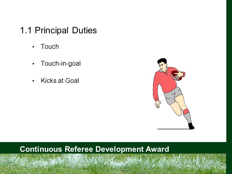 Continuous Referee Development Award 1.3 (b) Touch-in-Goal - Decision? Team A Team B KICK OFF