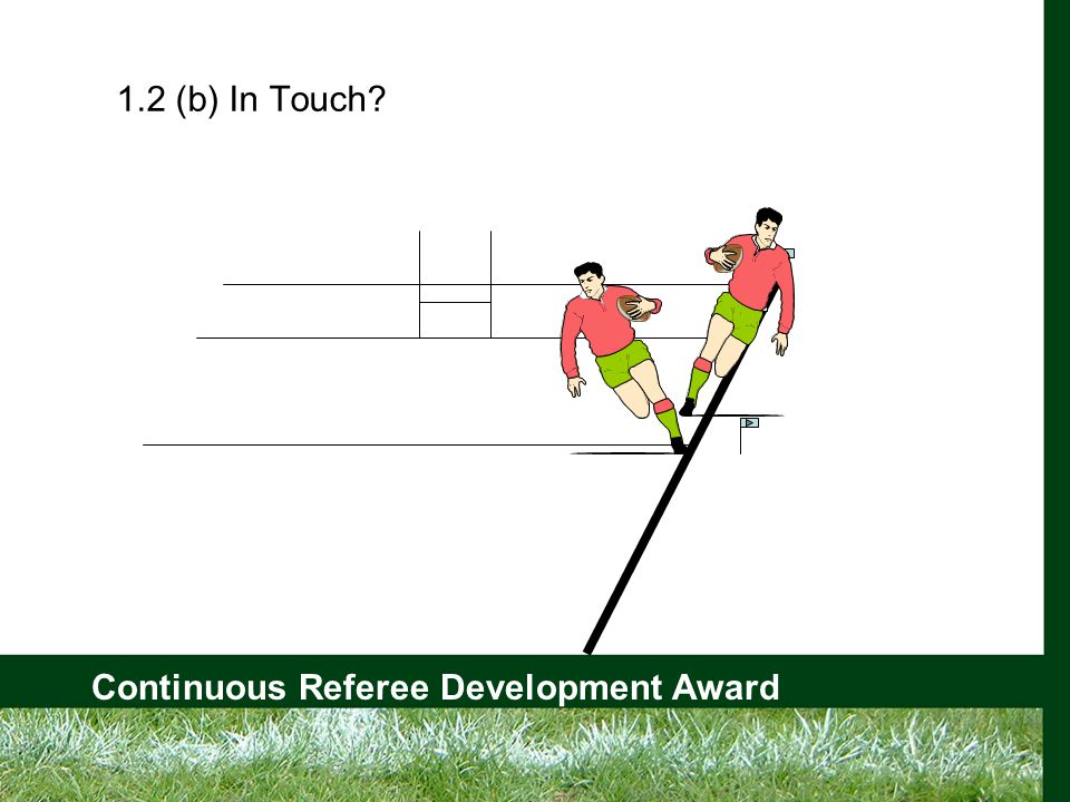 Continuous Referee Development Award 1.5 (a) Quick Throw Allowed From __________ where the ball went into touch and the thrower's goal line Must be before a ________ has formed Same _____ must be used Only the ________ has touched the ball