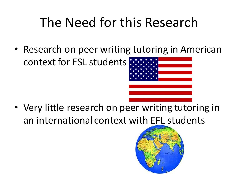The Need for this Research Research on peer writing tutoring in American context for ESL students Very little research on peer writing tutoring in an international context with EFL students