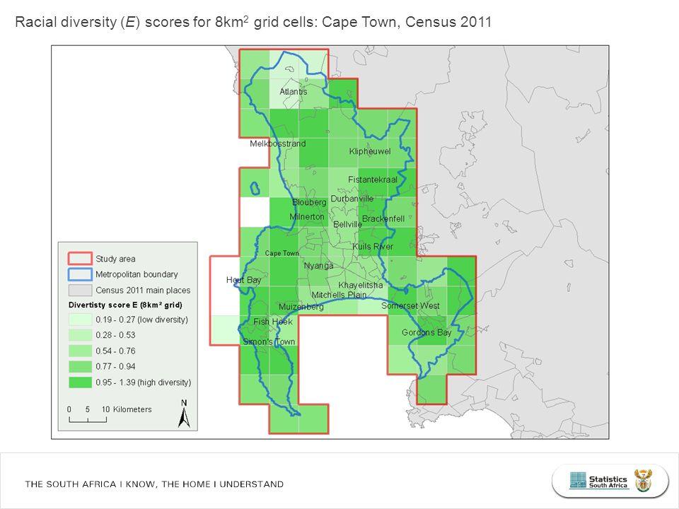 Racial diversity (E) scores for 8km 2 grid cells: Cape Town, Census 2011