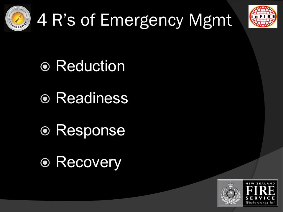4 R's of Emergency Mgmt  Reduction  Readiness  Response  Recovery