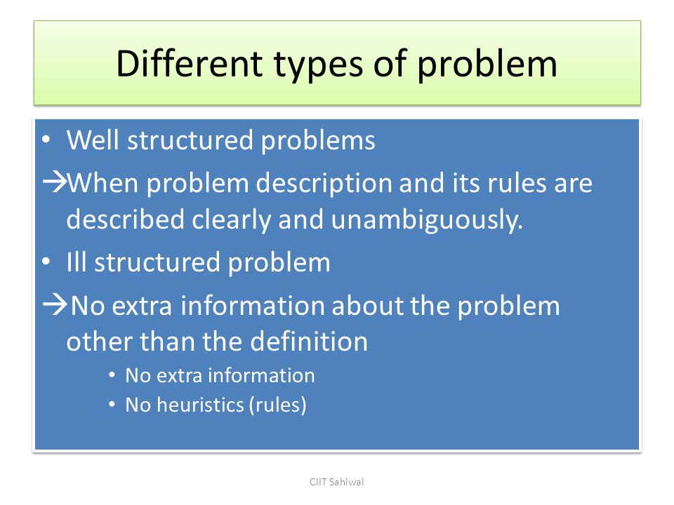 Different types of problem Well structured problems  When problem description and its rules are described clearly and unambiguously.
