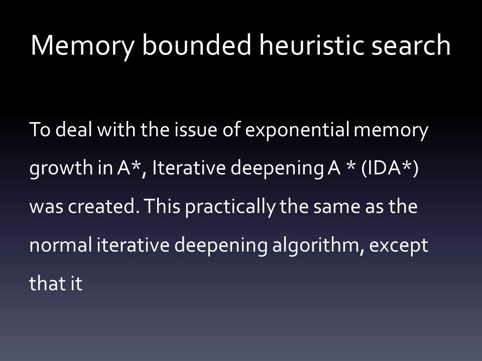 Memory bounded heuristic search To deal with the issue of exponential memory growth in A*, Iterative deepening A * (IDA*) was created. This practicall