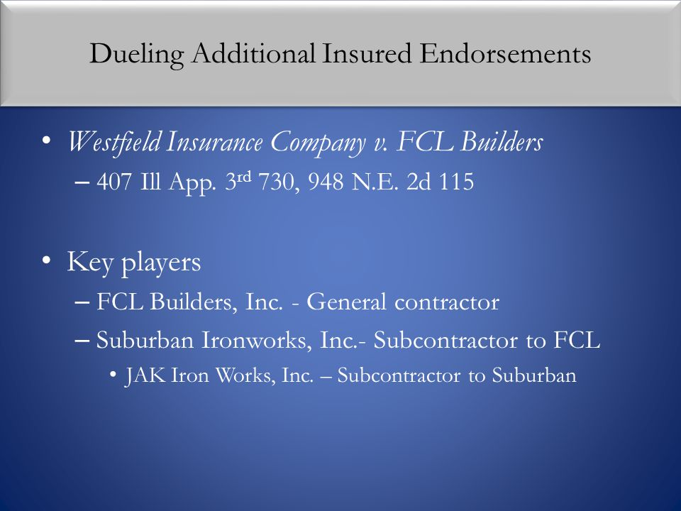 Dueling Additional Insured Endorsements Westfield Insurance Company v. FCL Builders – 407 Ill App. 3 rd 730, 948 N.E. 2d 115 Key players – FCL Builder