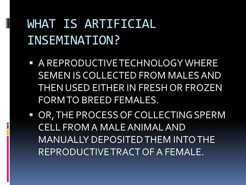 WHAT IS ARTIFICIAL INSEMINATION?  A REPRODUCTIVE TECHNOLOGY WHERE SEMEN IS COLLECTED FROM MALES AND THEN USED EITHER IN FRESH OR FROZEN FORM TO BREED