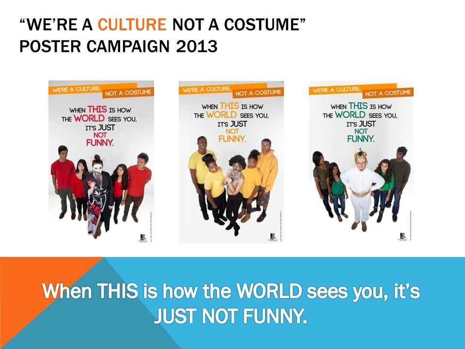 WE'RE A CULTURE NOT A COSTUME POSTER CAMPAIGN 2013