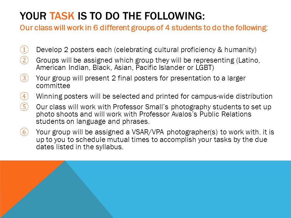 Our class will work in 6 different groups of 4 students to do the following: ① Develop 2 posters each (celebrating cultural proficiency & humanity) ② Groups will be assigned which group they will be representing (Latino, American Indian, Black, Asian, Pacific Islander or LGBT) ③ Your group will present 2 final posters for presentation to a larger committee ④ Winning posters will be selected and printed for campus-wide distribution ⑤ Our class will work with Professor Small's photography students to set up photo shoots and will work with Professor Avalos's Public Relations students on language and phrases.