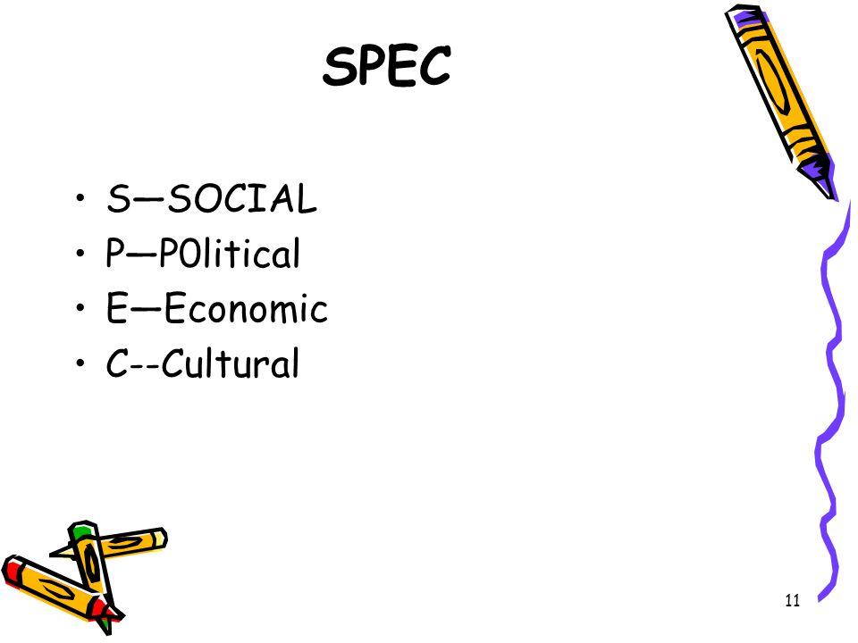11 SPEC S—SOCIAL P—P0litical E—Economic C--Cultural