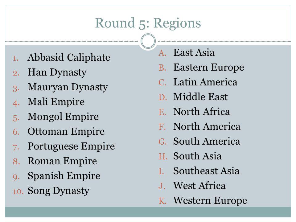 1. Abbasid Caliphate 2. Han Dynasty 3. Mauryan Dynasty 4. Mali Empire 5. Mongol Empire 6. Ottoman Empire 7. Portuguese Empire 8. Roman Empire 9. Spani
