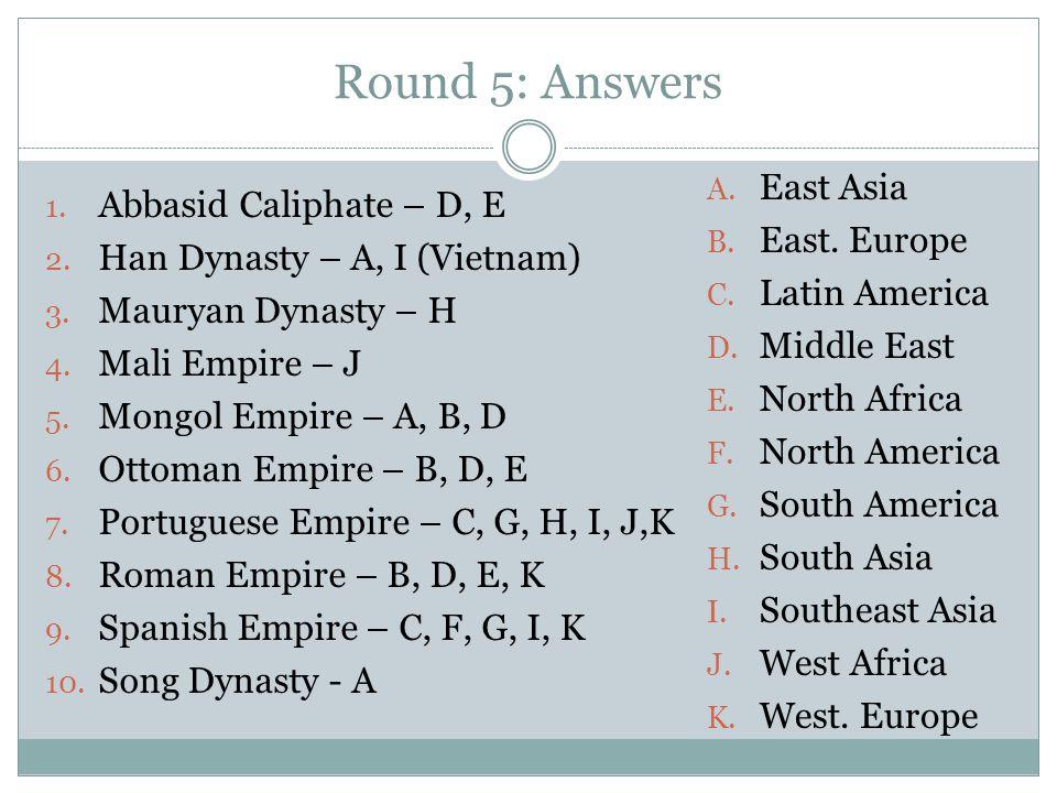 Round 5: Answers 1. Abbasid Caliphate – D, E 2. Han Dynasty – A, I (Vietnam) 3. Mauryan Dynasty – H 4. Mali Empire – J 5. Mongol Empire – A, B, D 6. O