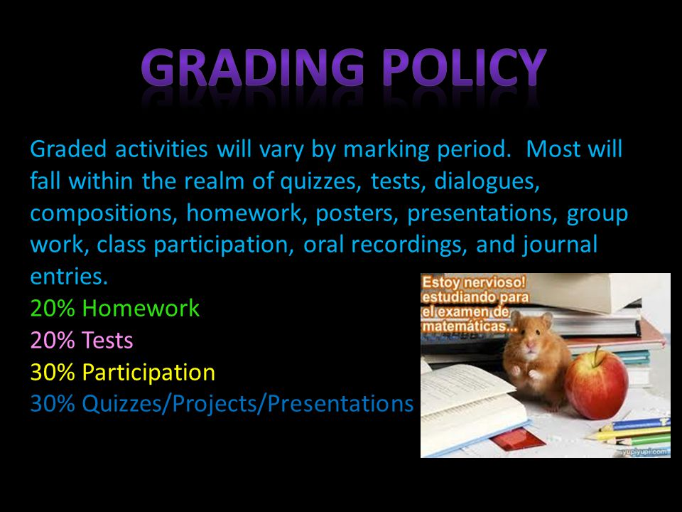 Graded activities will vary by marking period.
