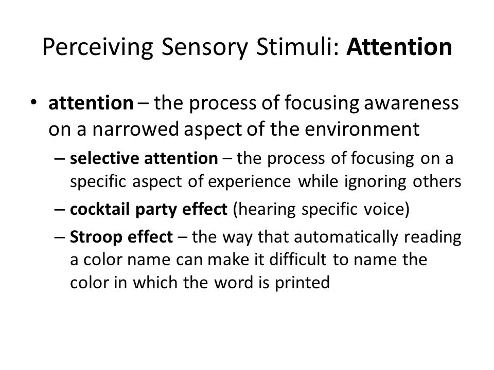 Stroop Effect Stroop effect – the way that automatically reading a color name can make it difficult to name the color in which the word is printed (p.