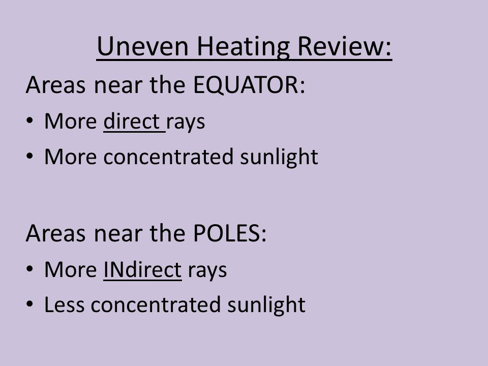 Uneven Heating Review: Areas near the EQUATOR: More direct rays More concentrated sunlight Areas near the POLES: More INdirect rays Less concentrated sunlight