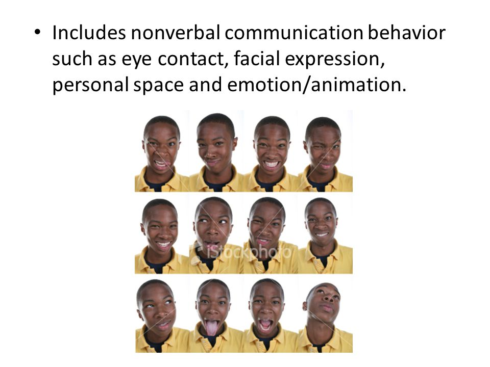 Includes nonverbal communication behavior such as eye contact, facial expression, personal space and emotion/animation.
