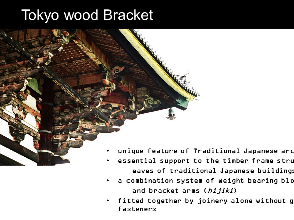 Tokyo wood Bracket unique feature of Traditional Japanese architecture essential support to the timber frame structure and eaves of traditional Japane