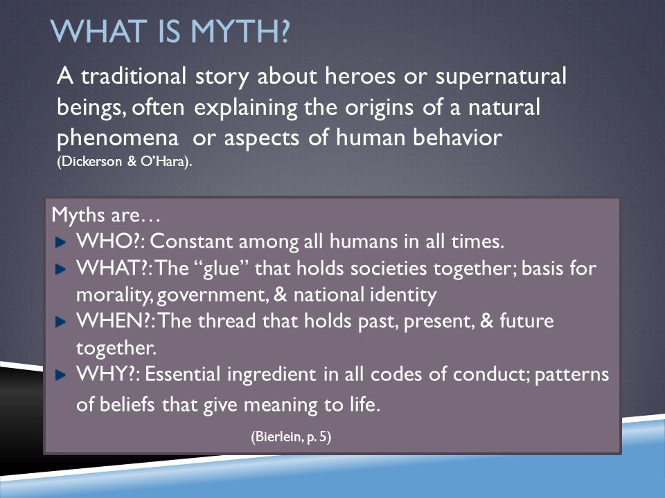 WHAT IS MYTH? From Hercules to Harry Potter