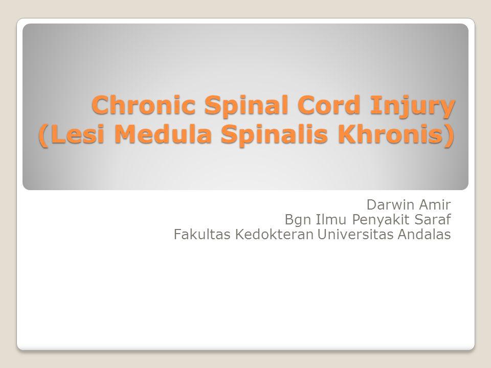 Chronic Spinal Cord Injury (Lesi Medula Spinalis Khronis) Darwin Amir Bgn Ilmu Penyakit Saraf Fakultas Kedokteran Universitas Andalas