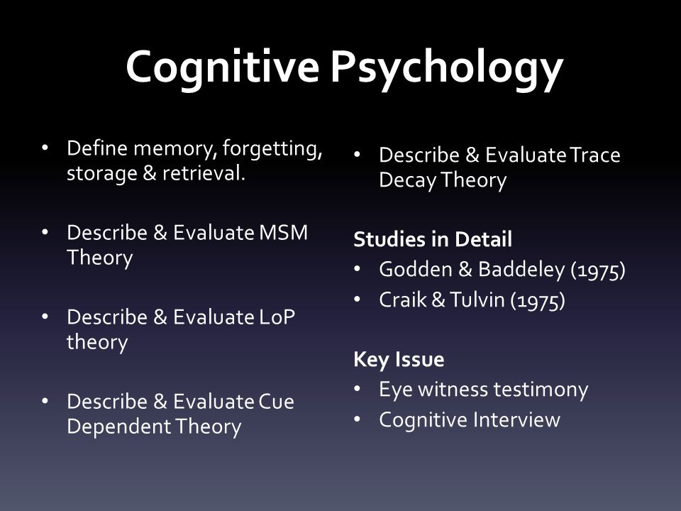 Memory & Forgetting… The same thing.Memory: The retention and recall of previous experience.