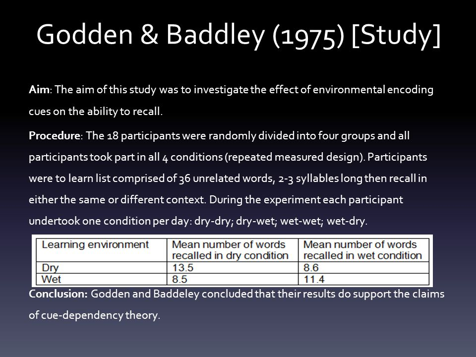 Godden & Baddley (1975) AO2 G: Only trained SCUBA divers were used therefore it may not apply to all people.