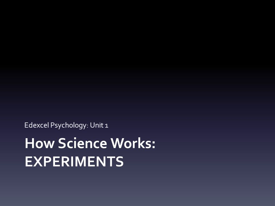 Experiments Three types of experiments: Laboratory experiments – Highly controlled / artificial Field experiments – Controlled variables in a natural environment Quasi (natural) experiments – We have no control over the independent variable – it's 'naturally' occurring (eg Gender)
