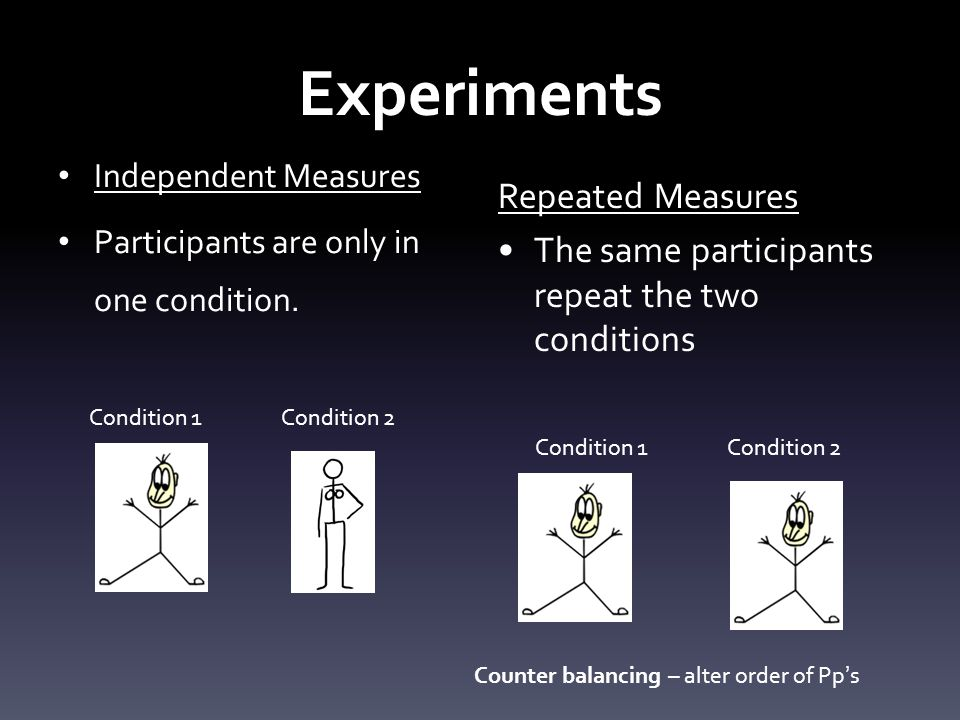 Experiments Matched Pairs – make two groups of participants as similar as possible.